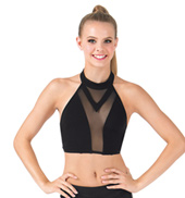 Adult Mesh Insert Halter Crop Top