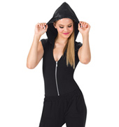 Adult Sequin Hoodie Short Sleeve Bodysuit