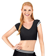 Adult Stripe Short Sleeve Crop Top