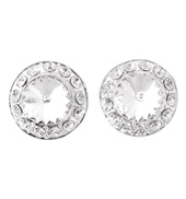 12mm Clip Clear Stone Earrings