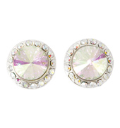 10mm Clip On Iridescent Stone Earrings