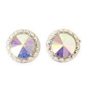 10mm Post Iridescent Stone Earrings