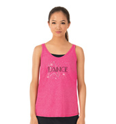 Womens Rhinestone Dance Star Tank Top