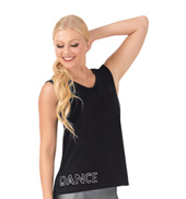 Womens Rhinestone Dance Pocket Tank Top