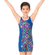 Girls Painted Patchwork Gymnastics Tank Biketard