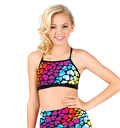 Girls Rainbow Heart Strappy Back Camisole Bra Top