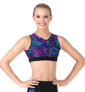 Adult Rainbow Zebra Printed Zip Front Crop Top