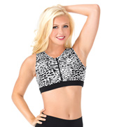 Adult White Leopard Printed Zip Front Tank Crop Top