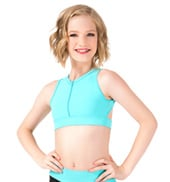 Girls Zip Front Triangle Back Tank Crop Top