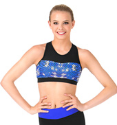 Adult Mesh Sweetheart Blue Geometric Printed Tank Crop Top