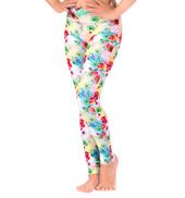 Girls Rainbow Floral Printed Ankle Leggings