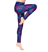 Girls Rainbow Zebra Printed Ankle Leggings