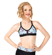 Girls Heart Print Two-Tone Camisole Bra Top