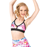 Girls Digital Floral Two-Tone Camisole Bra Top