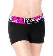 Girls Floral Zebra Waistband Dance Shorts