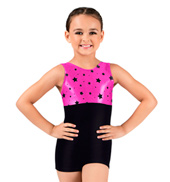 Child Flocked Star Metallic Tank Biketard