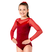 Girls Velvet Long Sleeve Leotard