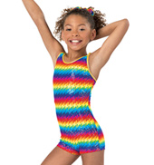 Child and Toddler Pixel Pop Camisole Gymnastics Biketard