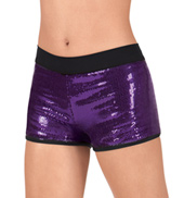 Adult Sequin Shorts with Black Waistband