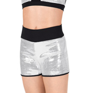 Child Sequin Shorts with Black Waistband
