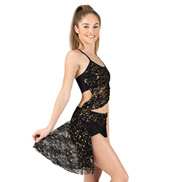 Adult/Girls Asymmetrical Sequin Lace Bra Top with Attached Shorts