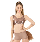 Adult/Girls Long Sleeve Nude Sequin Bustle Unitard