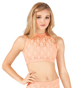 Adult Mock Neck Lace Tank Crop Top