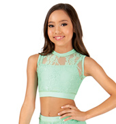 Girls Mock Neck Lace Tank Crop Top