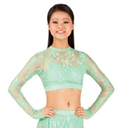 Adult Mock Neck Lace Long Sleeve Crop Top
