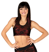Adult Lace Overlay Mesh Racerback Tank Bra Top