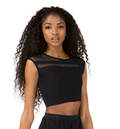 Womens Mesh Striped Short Sleeve Dance Bra Top