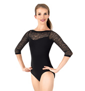 Womens Lace 3/4 Sleeve Leotard