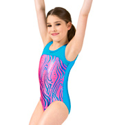 Girls Neon Zebra Dot Print Mesh Tank Leotard