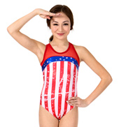 Girls Metallic Stars and Stripes Mesh Tank Leotard