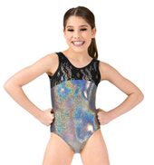 Girls Metallic Heart Cutout Lace Tank Leotard