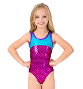 Girls Mermaid Sequins Metallic Tank Leotard