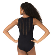 Womens Box Pleat Back Mesh Tank Leotard
