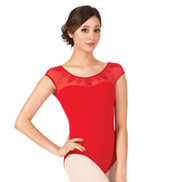 Adult Saviera Diamond Embroidered Mesh Short Sleeve Leotard