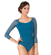Adult Funda Diamond Embroidered Mesh Long Sleeve Leotard