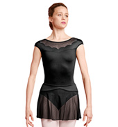 Womens Scalloped Detail Short Sleeve Ballet Leotard