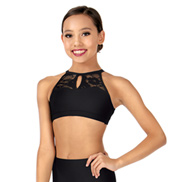 Child Keyhole Halter Lace Dance Crop Top