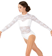Adult Sweetheart Bandeau Lace Long Sleeve Leotard
