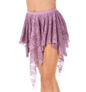 Adult Uneven Hem Drapey Lace Dance Skirt
