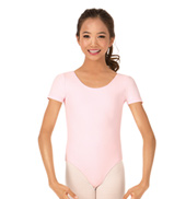 Girls Brushed Cotton Short Sleeve Dance Leotard