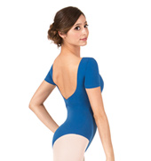 Adult Brushed Cotton Pinch Front Short Sleeve Dance Leotard