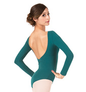 Adult Brushed Cotton Pinch Front Long Sleeve Dance Leotard