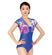 Adult Floral Print Mesh Short Sleeve Leotard