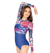 Adult Floral Print Mesh Long Sleeve Leotard