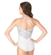 Adult Stripe Mesh Open Back Halter Dance Leotard
