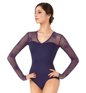 Adult Floral Mesh Long Sleeve Leotard
